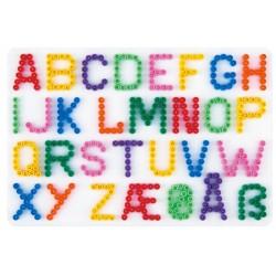 Stiftplade, bogstaver fra A-Å, 14,5 x 21 cm, HAMA Midi perler