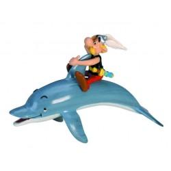 Asterix på ryggen af delfin, flot, dekoreret figur fra Asterix, samlerobjekt