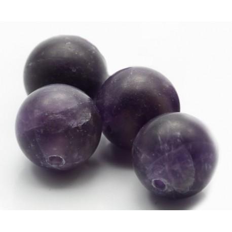 10 mm mat, lilla ametyst rund, stenperler, 4 stk