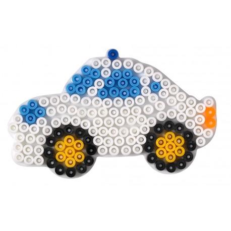 Stiftplade, bil, politibil, 6,5 x 10 cm, HAMA Midi perler