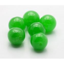 10 mm grøn jade, rund, stenperler, 6 stk