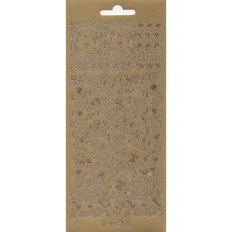 Peel-off stickers, klistermærker til kort og dekoration, Borter (guld)